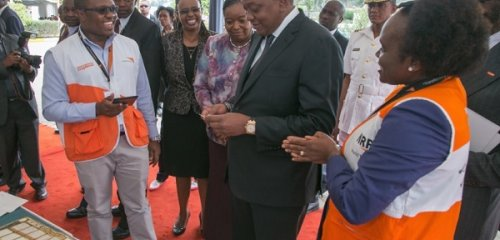 Kenya's President impressed by charity's Last Mile Mobile Solution LMMS digital aid delivery innovation